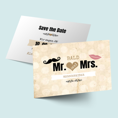 Save the Date Karten: MR. & MRS. in love previews