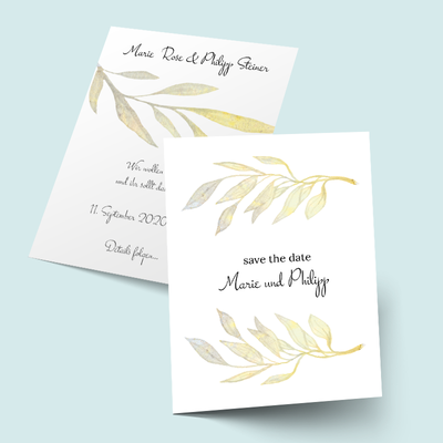 Save the Date Karten: Golden Watercolor previews