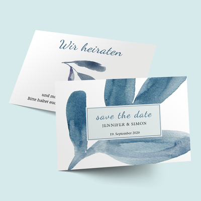 Save the Date Karten: Blue Watercolor Leaves previews