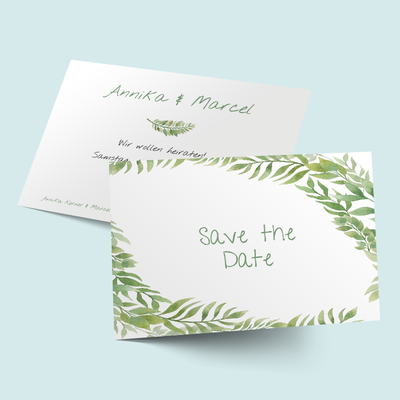Save the Date Karten: Botanical Leaves previews