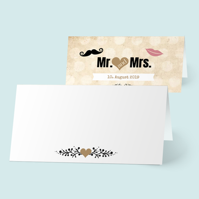 Tischkarten: MR. & MRS. in love previews