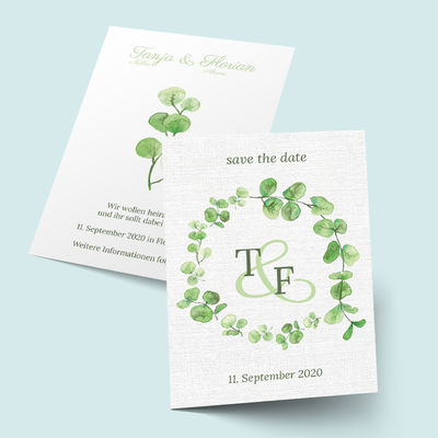 Save the Date Karten: Eucalyptus Monogramm previews